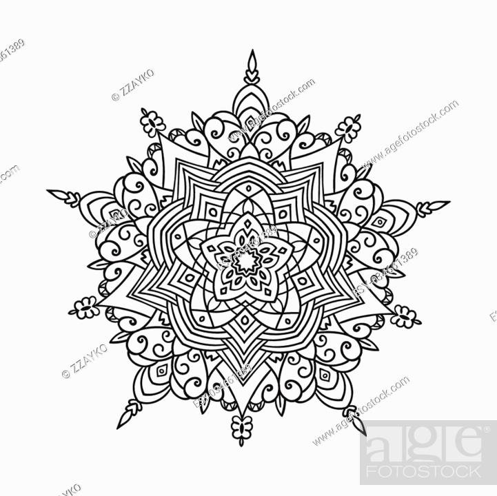 Vecteur de stock: Hand drawing zentangle element. Black and white. Flower mandala. Vector illustration. The best for your design, textiles, posters, tattoos, corporate identity.