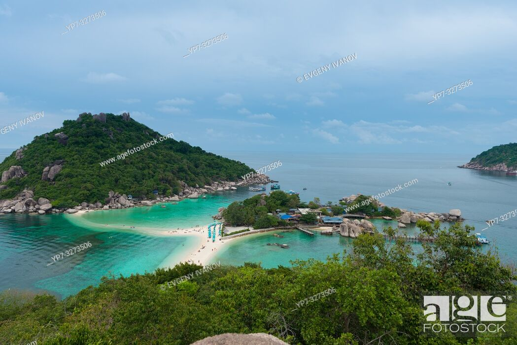 Stock Photo: Nang Yuan national park island high angle view, Ko Tao island, Thailand.