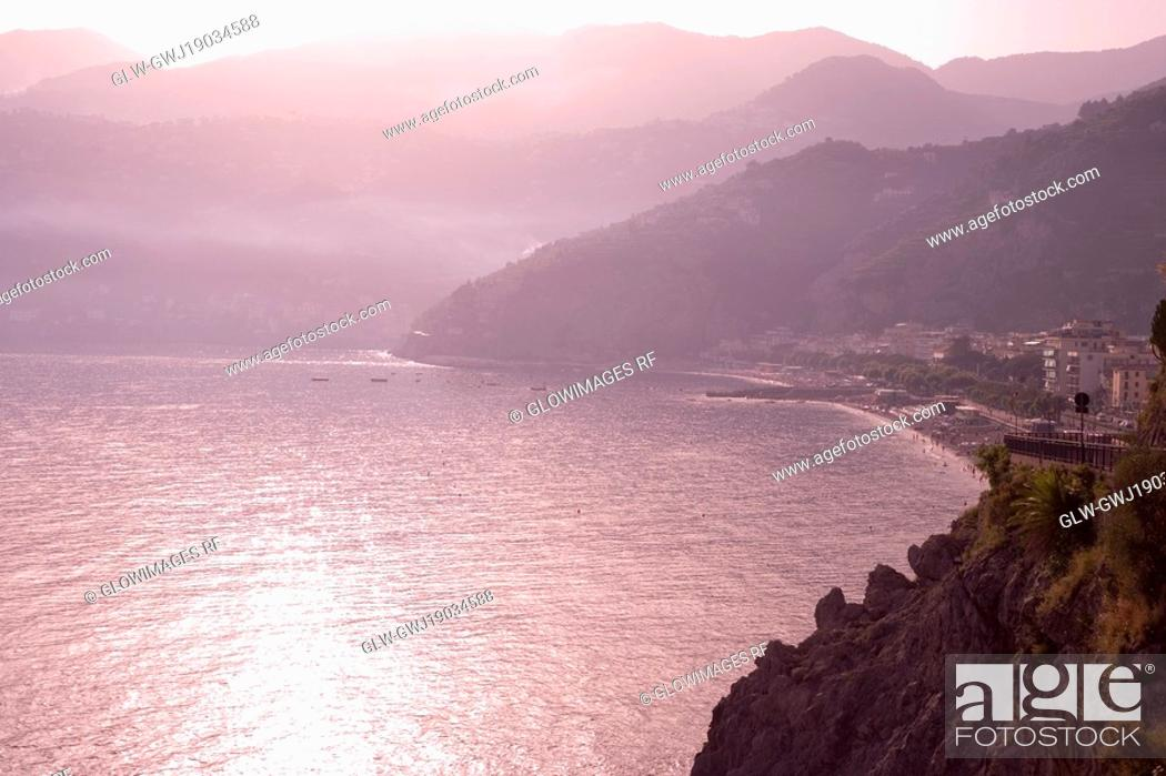Stock Photo: High angle view of a coastline, Amalfi Coast, Maiori, Salerno, Campania, Italy.