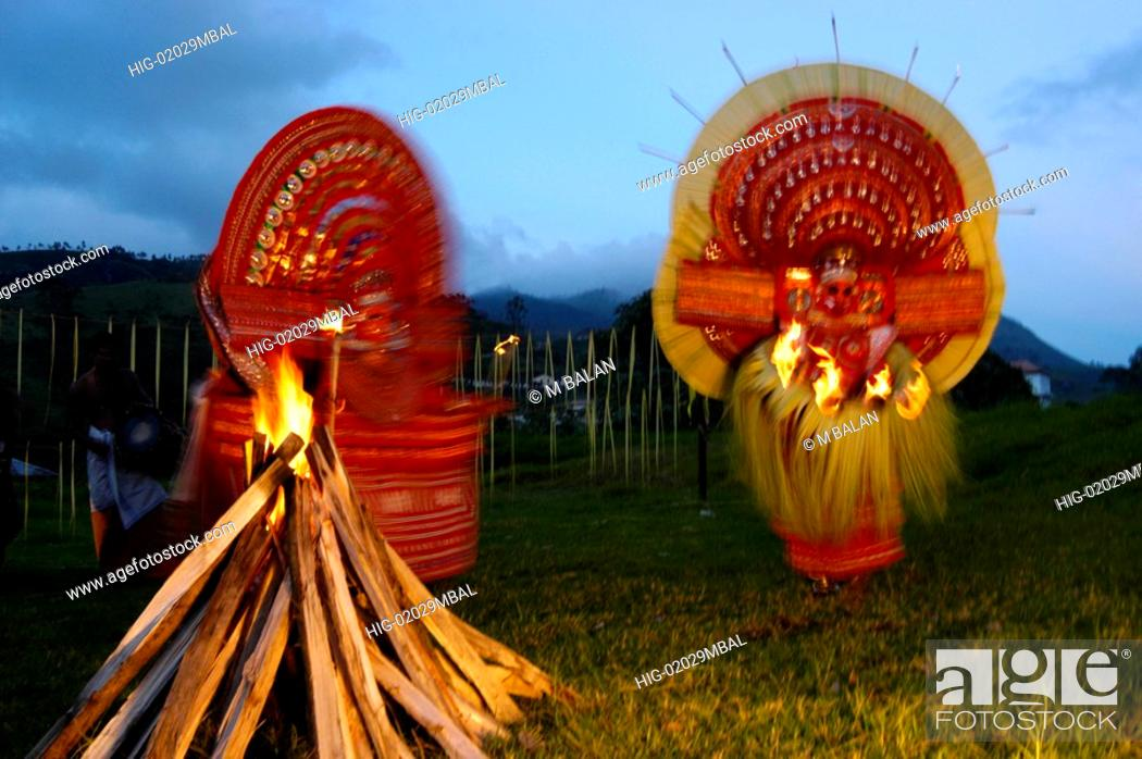 Stock Photo: THEYYAM, RITUALISTIC DANCE OF GODMEN OF MALABAR.