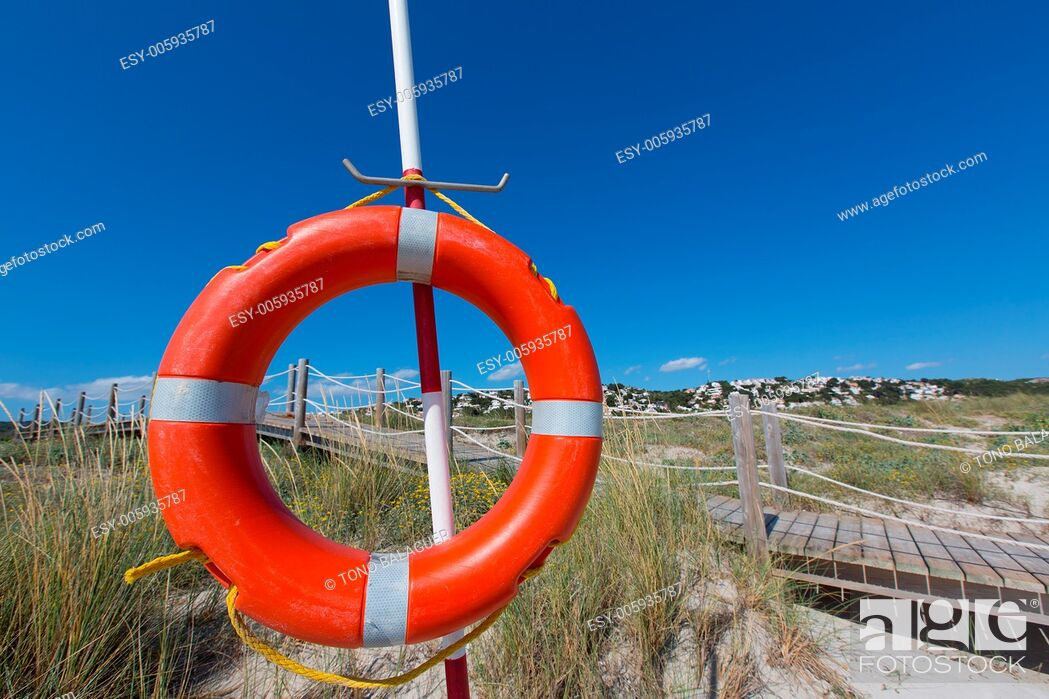 Stock Photo: Alaior Cala Son Bou in Menorca round orange boy at Balearic islands.