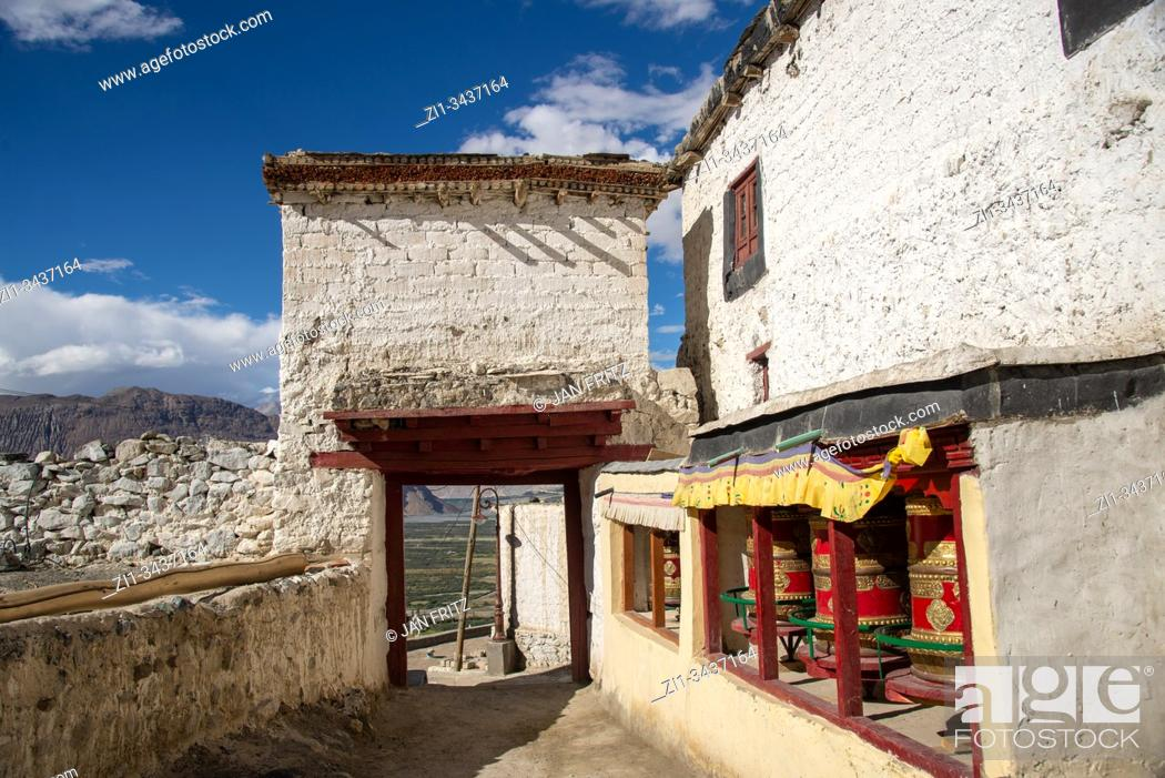 Stock Photo: Diskit monastery in Nubra valley in Himalayas in Ladakh, northern India.