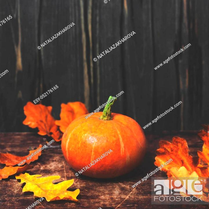Stock Photo: Autumn Fall background with pumpkins and golden leaves on rustic wooden background. Happy Thanksgiving Card with copy space.