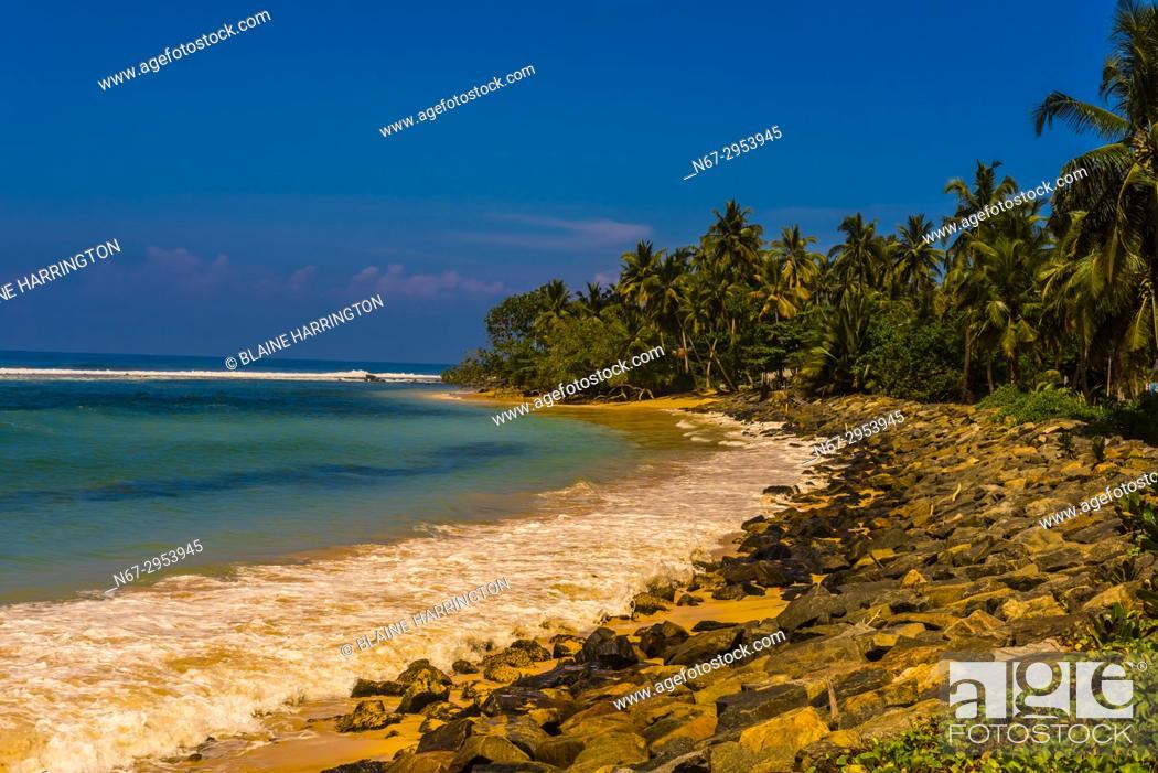 Stock Photo: Coastline of the south coast of Sri Lanka at Talpe, Southern Province.