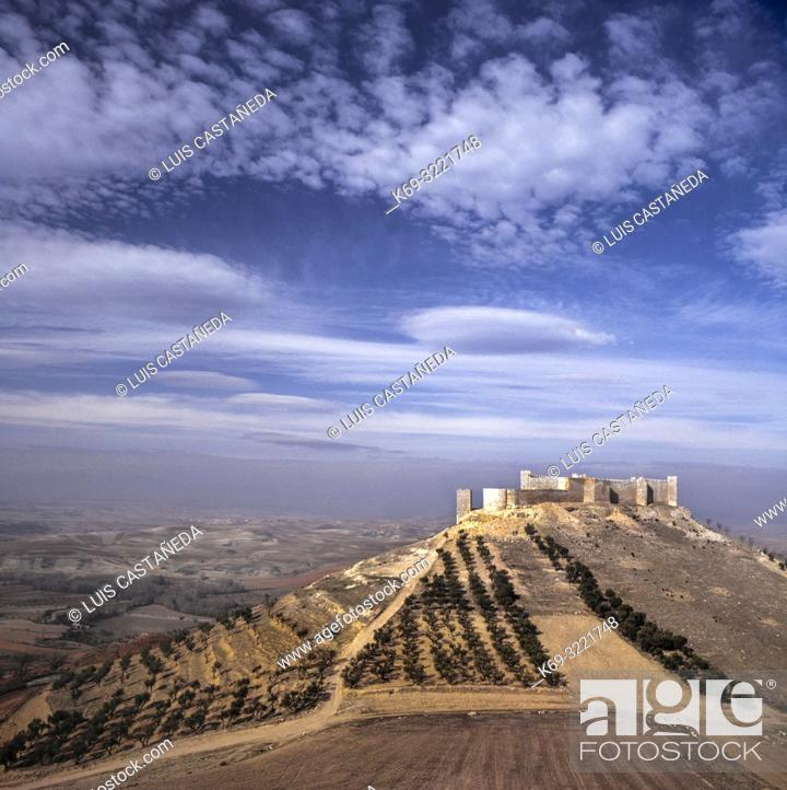 Stock Photo: The Castle of Jadraque is a castle in the municipality of Jadraque, Castile-La Mancha, Spain. It sits on a hill commanding the plain of the Henares river.