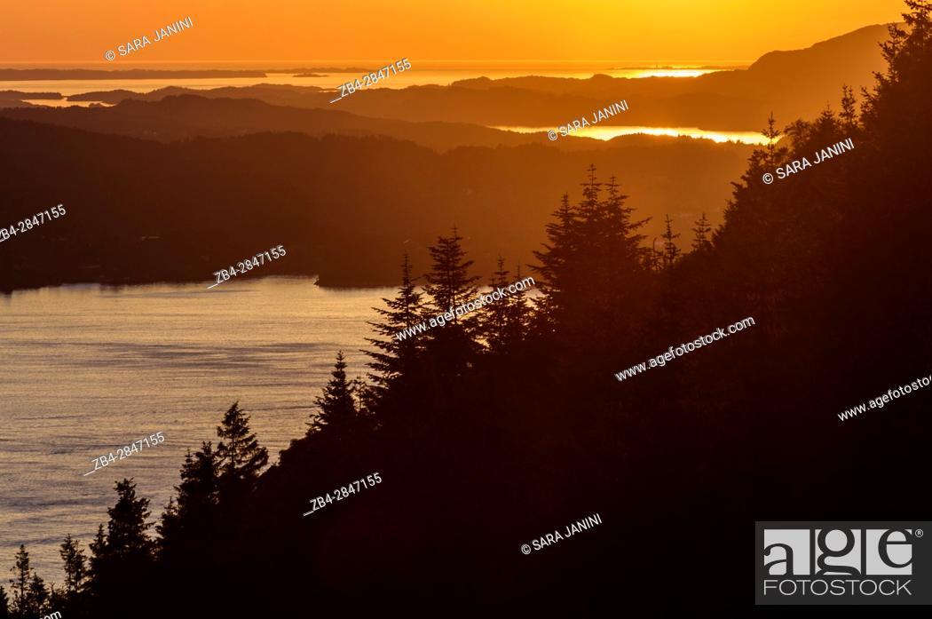 Stock Photo: View from Mt. Fløyen, Bergen, Hordaland, Fjords, Norway.