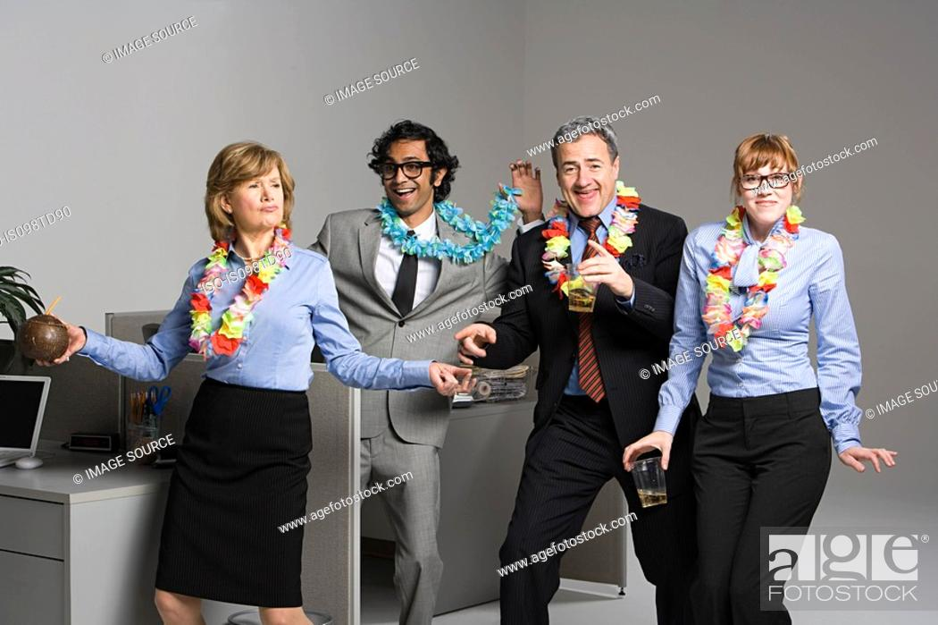 Stock Photo: Business people enjoying office party.