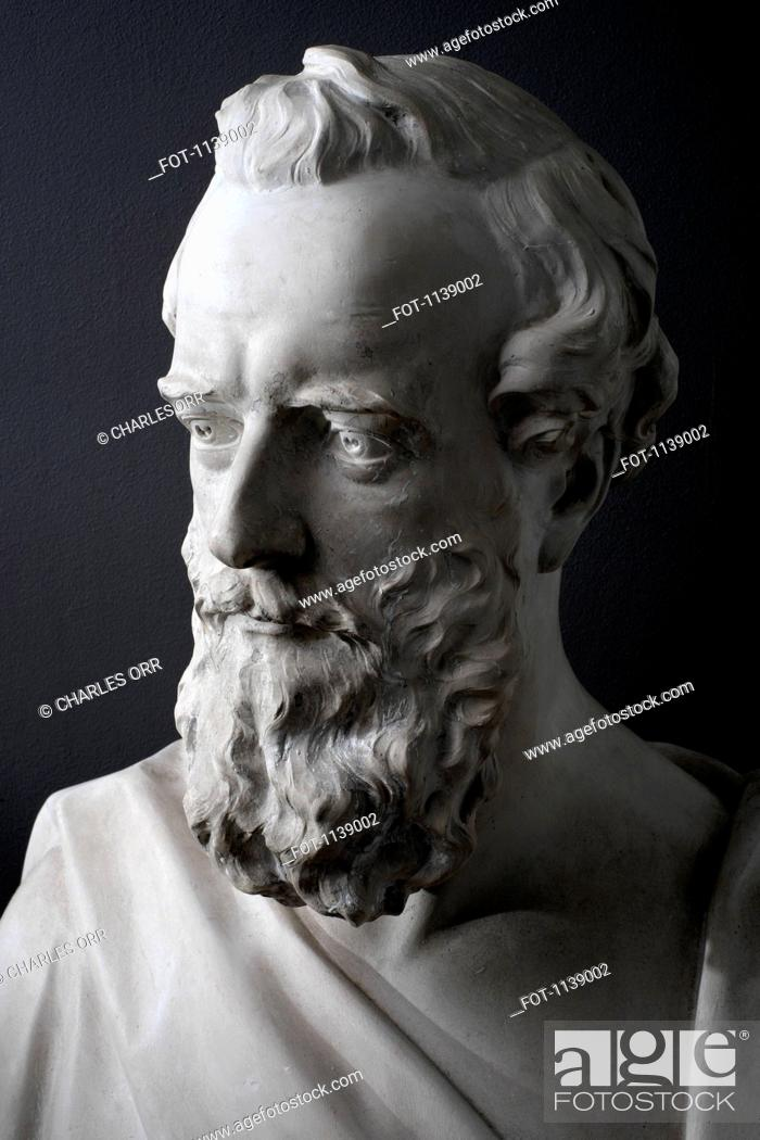 Stock Photo: Detail of a classical sculpture of a man.