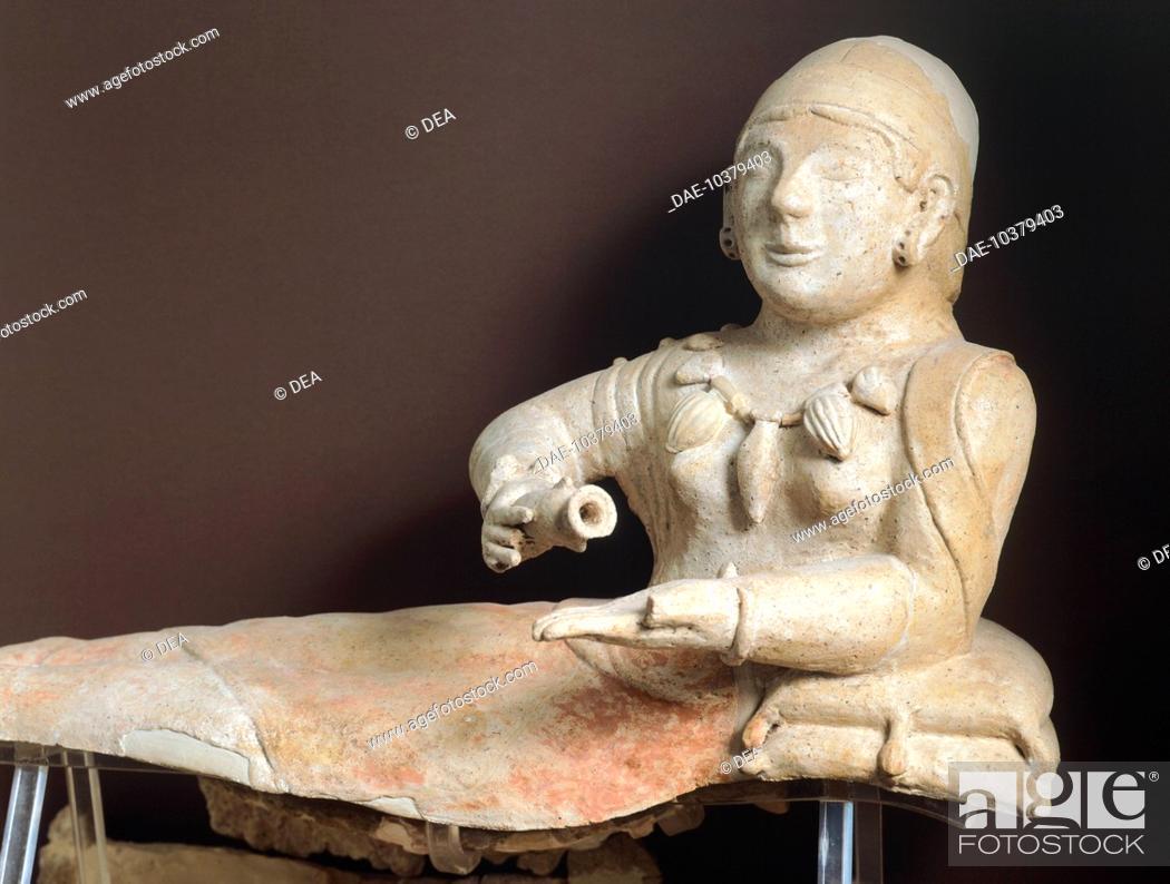 Stock Photo: Fictile urn depicting a deceased person with jewels, from Cerveteri. Etruscan Civilization, 4th Century BC.  Rome, Museo Nazionale Etrusco Di Villa Giulia.