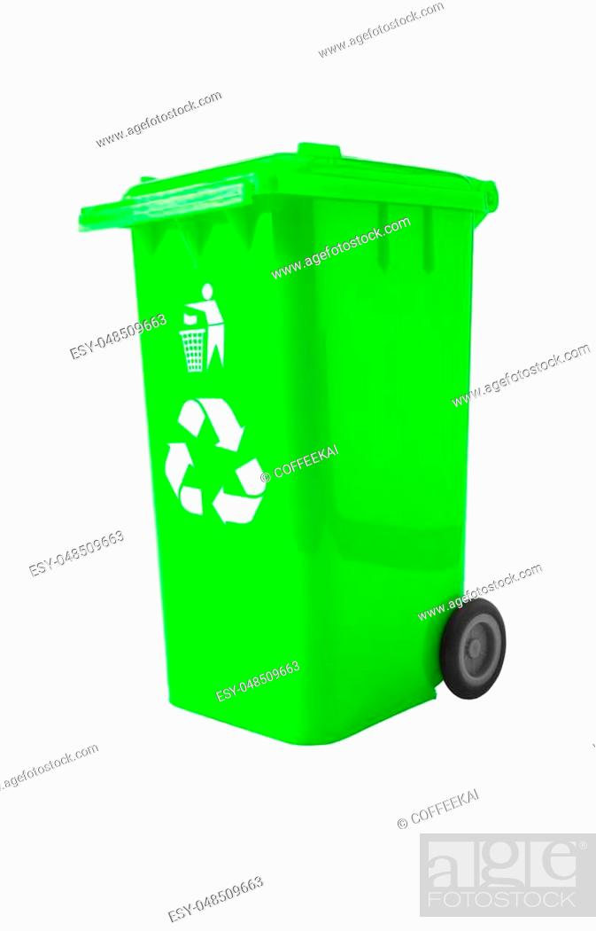 Stock Photo: Trash Bin with recycle logo isolated on white with path.
