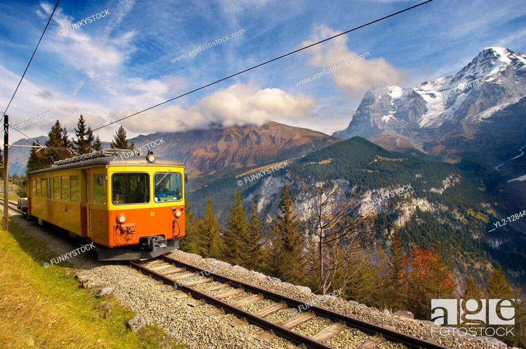 Stock Photo: Murren fenicular Train - Switzerland.