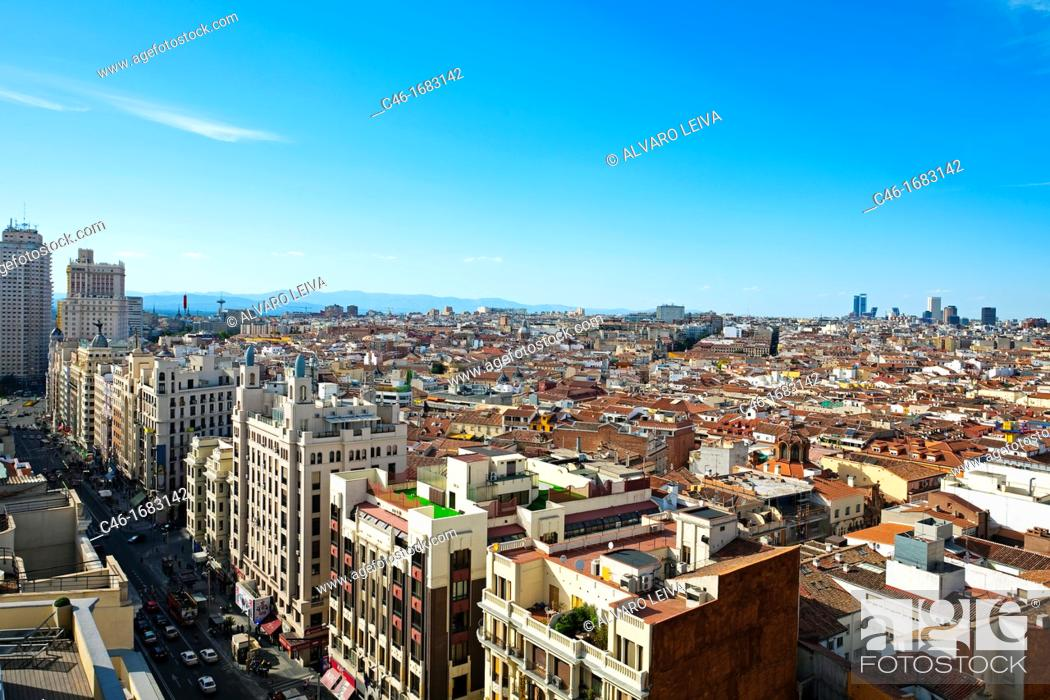 Stock Photo: sight of the City from Gran via, Madrid, Spain.