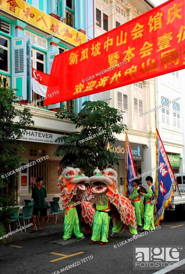 Stock Photo: Shophouses on Keong Saik Road in Singapore and Lion Dancers.