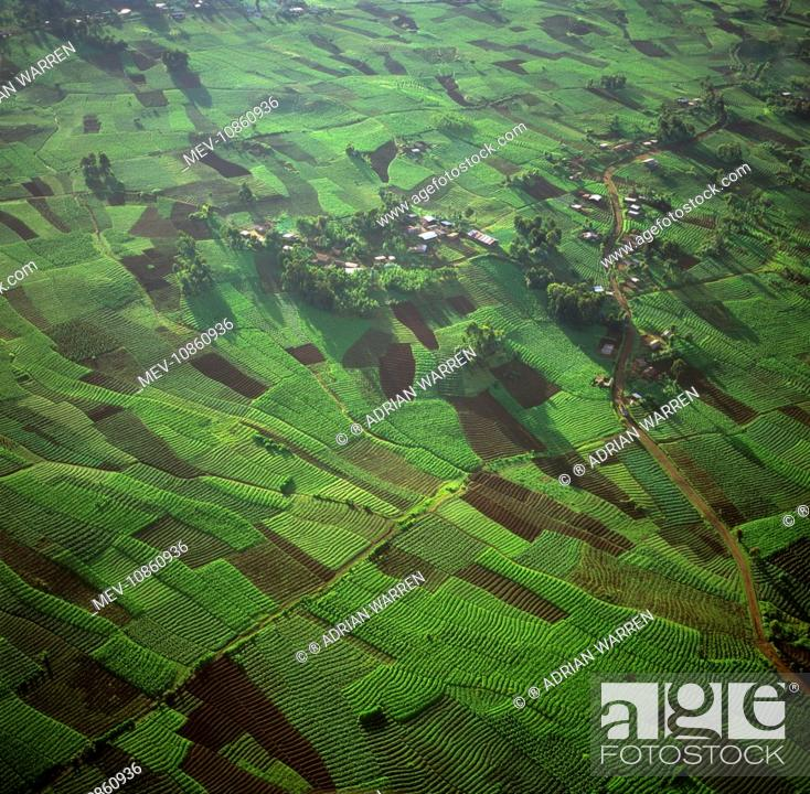 Rwanda - Aerial view of Africa, Intensive agriculture on