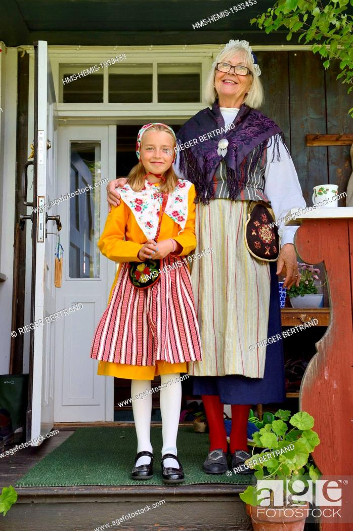 55ee9d834 Stock Photo - Sweden Dalarna County Leksand Area Grandmother And  Granddaughter In Traditional Costumes For The Midsummer Celebrations In The  Tiny Hamlet .