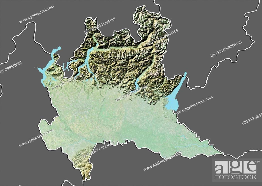 Relief Map Of The Region Of Lombardy Italy This Image Was Compiled