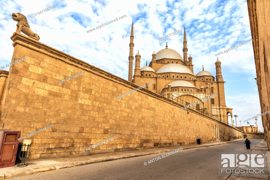 Stock Photo: Citadel of Cairo wall and the Mosque of Muhammad Ali view, Egypt.