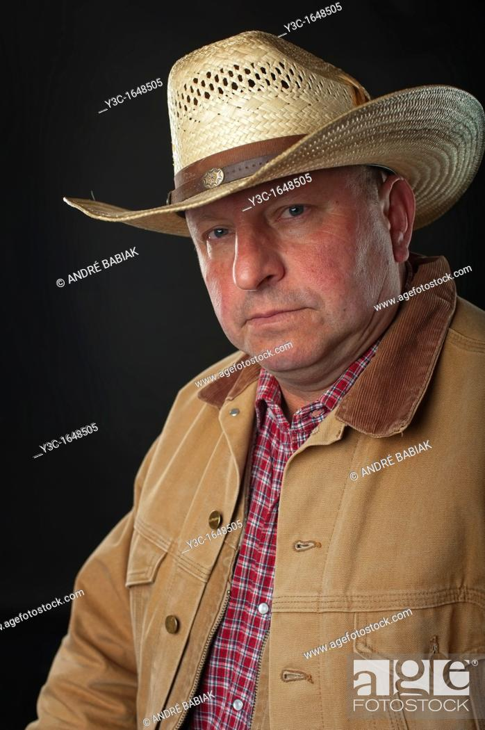 Stock Photo: Portrait of old rancher.