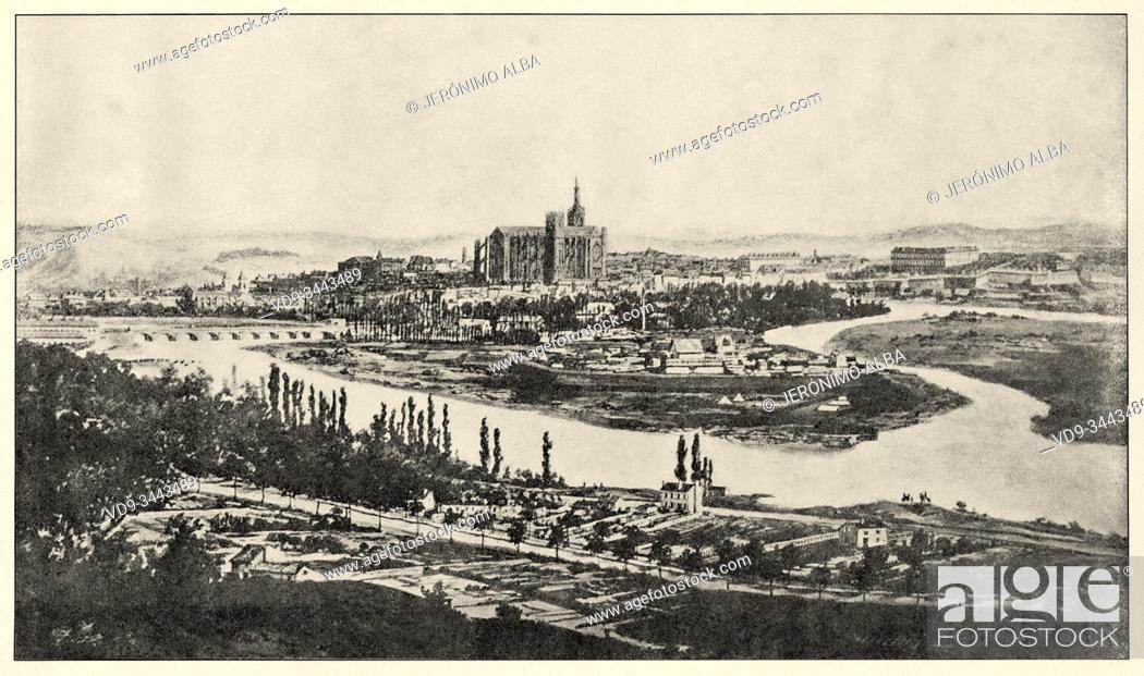 Stock Photo: The Province during the War of 1870-71. General view of Metz during the blockade 1870. History of France, old engraved illustration image from the book Histoire.