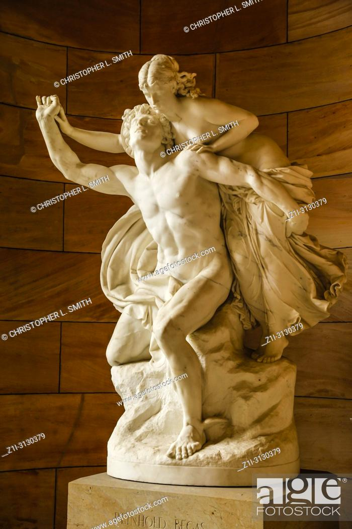 Stock Photo: Sculpture at the entrance to the National Gallery of Neoclassical art on Bodenstrasse in Berlin, Germany.