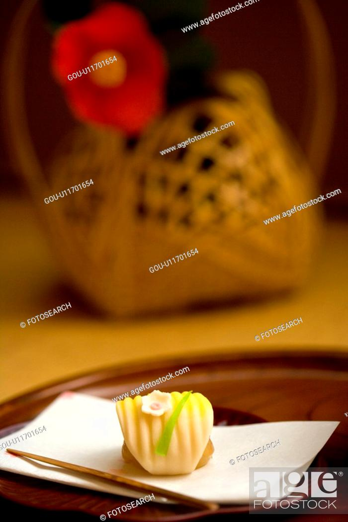 Stock Photo: Wagashi on plate, high angle view, close up, differential focus, Japan.