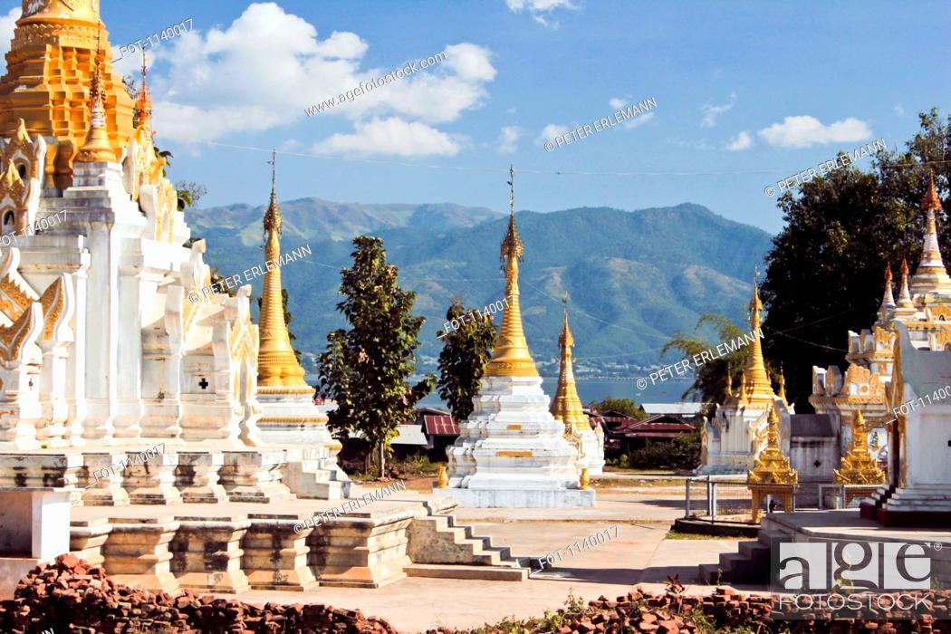 Stock Photo: An ornate Buddhist temple, Inle Lake, Burma.
