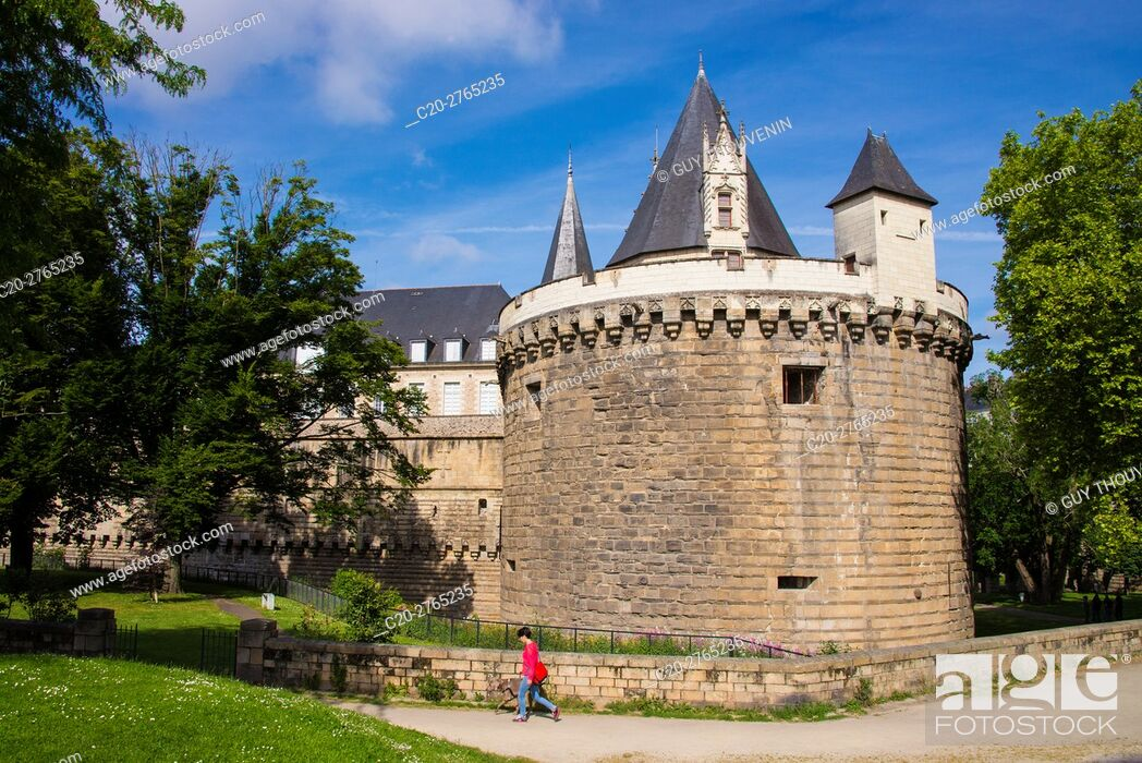 Stock Photo: Chateau des Ducs de Bretagne, fortress, built in the 15th c., by duke François II, Nantes, Loire Atlantique, France.