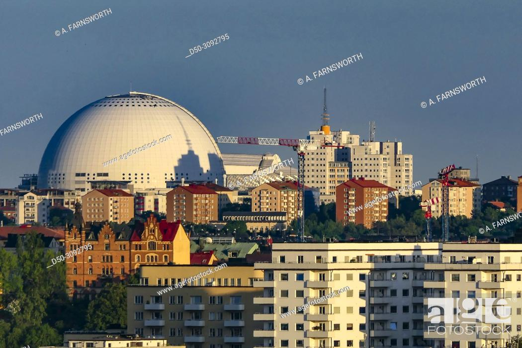 Stock Photo: City view over the Globe Arena. Stockholm, Sweden.