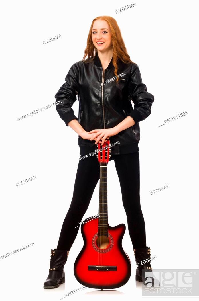 Stock Photo: Pretty girl with guitar isolated on white.