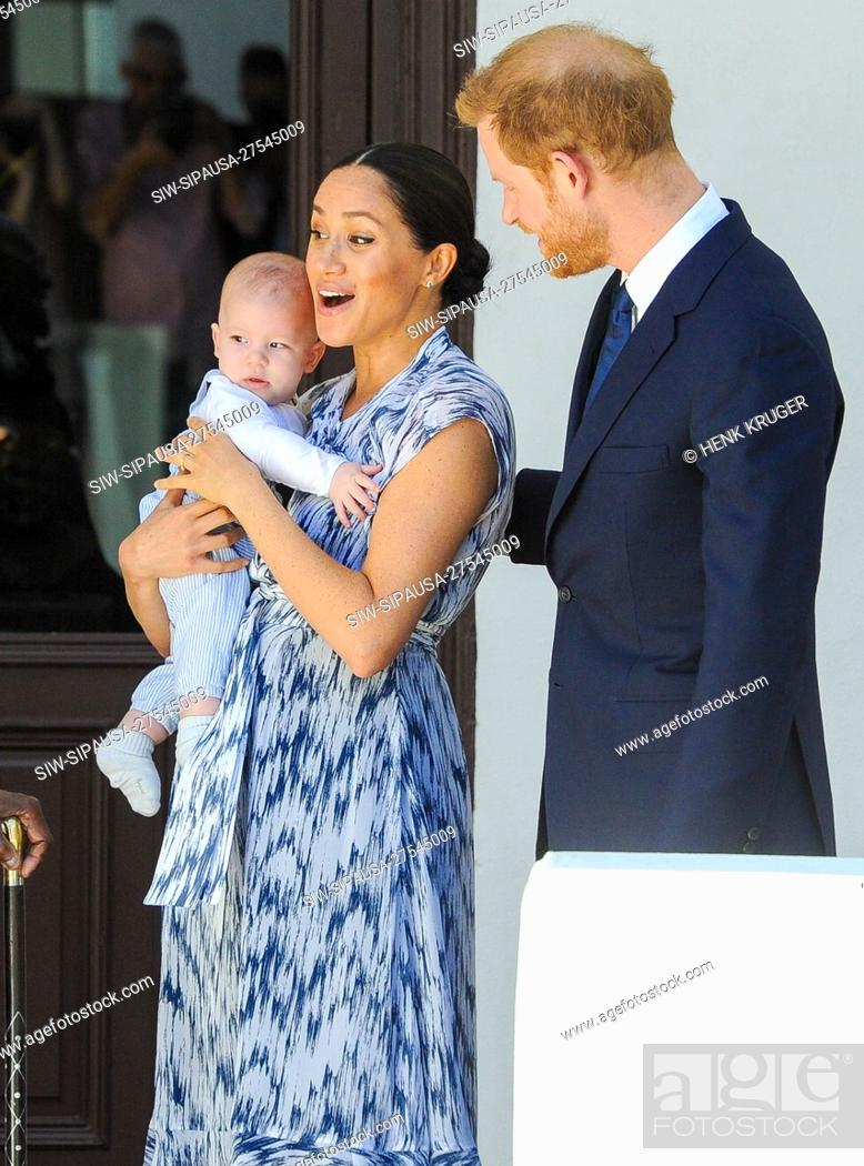 Stock Photo: Prince Harry and Meghan Duchess of Sussex, holding baby Son Archie, during the visit to Archbishop Desmond Tutu at the Desmond & Leah Tutu Legacy Foundation in.