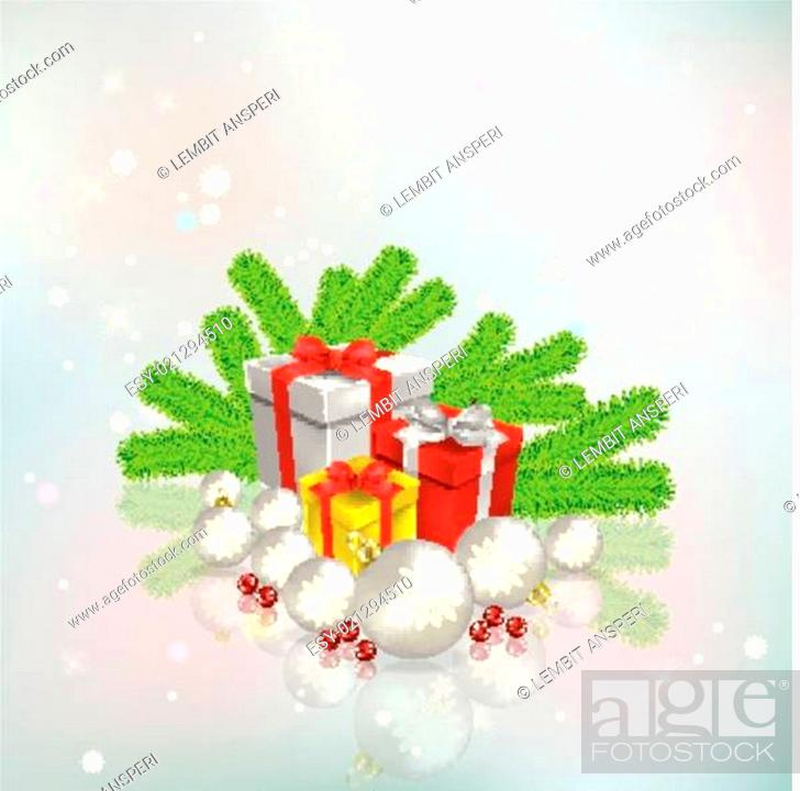 Stock Vector: Abstract celebration background with Christmas gifts and decorations.