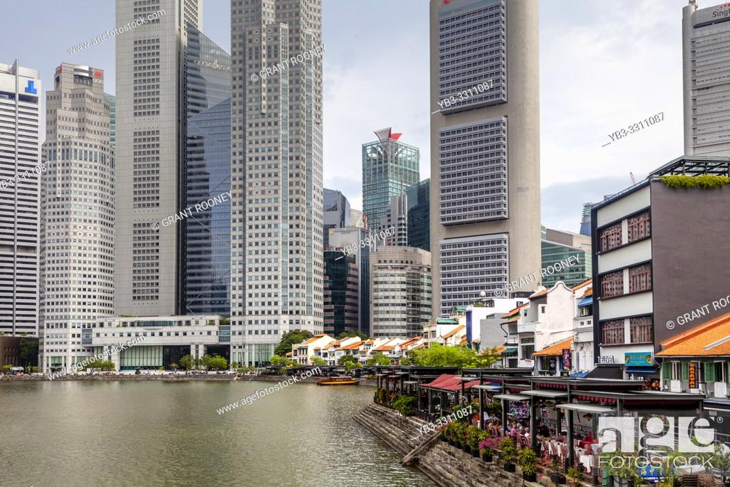 Stock Photo: Boat Quay and The CBD Skyline, Singapore, South East Asia.
