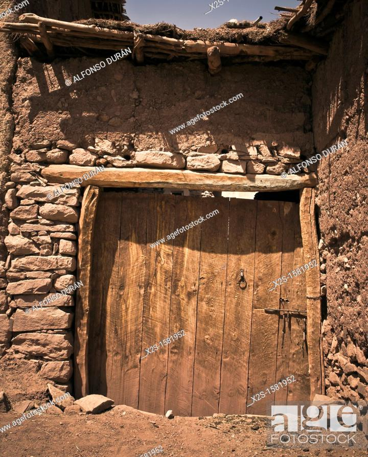 Stock Photo: adobe house door, Azilal, Morocco.