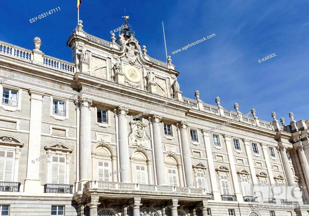 Stock Photo: Madrid, Spain - November 27, 2015: The Palacio Real de Madrid (Royal Palace) is the ceremonial residence of the royal Spanish family.