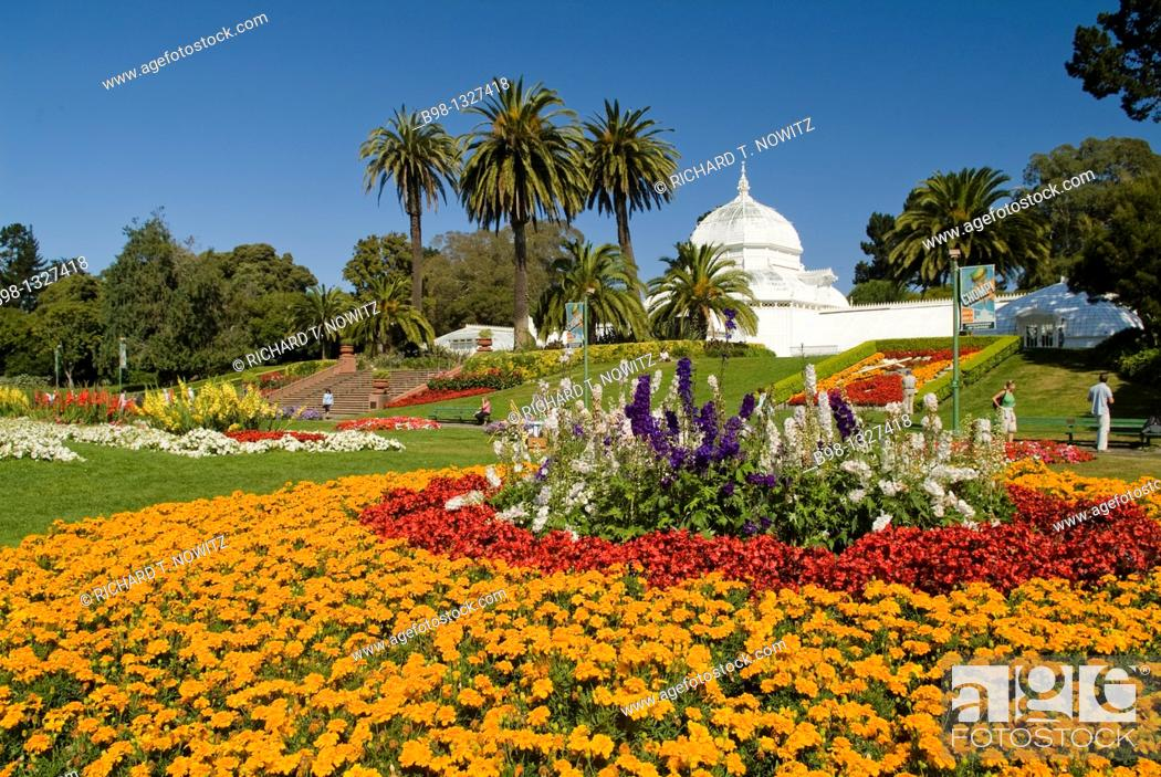 Stock Photo: Flowers bloom around the Conservatory in Golden Gate Park, SanFrancisco, California.