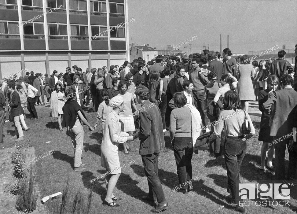 Stock Photo: A lull in the student protests, Nanterre, Paris, May 1968. Widespread protests and riots by students opposed to the policies of the government of President De.