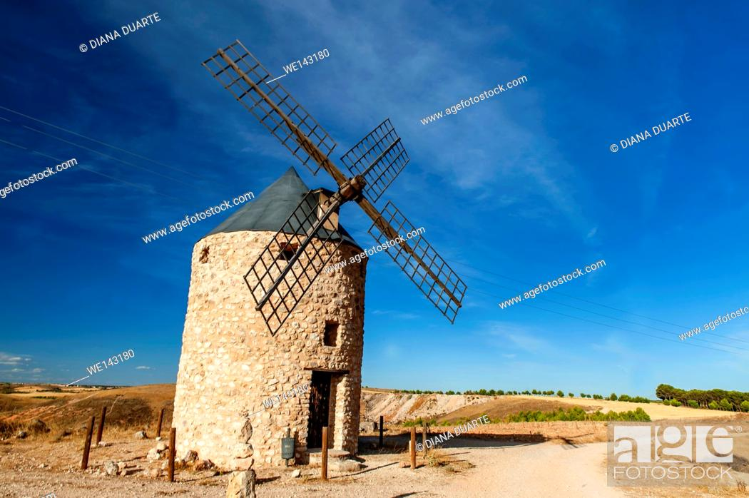 Stock Photo: This is in part due to the region's most famous - but fictitious - son, the world renowned Don Quixote. Villarubio, Cuenca, Spain.