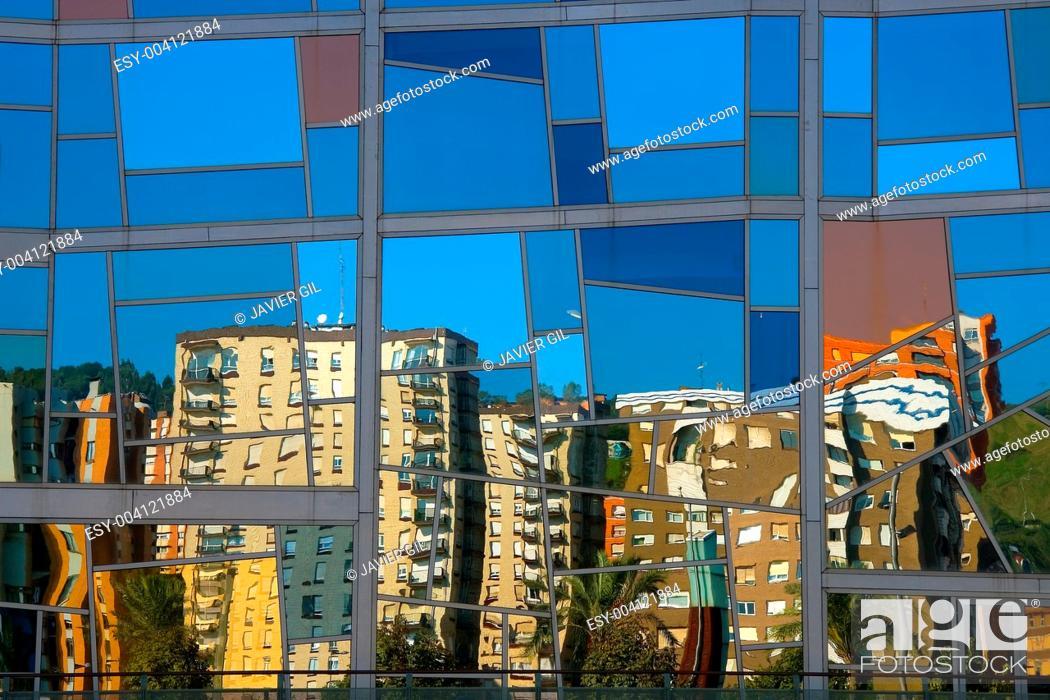 Stock Photo: Reflect in the Euskalduna palace, Bilbao, Bizkaia, Spain.