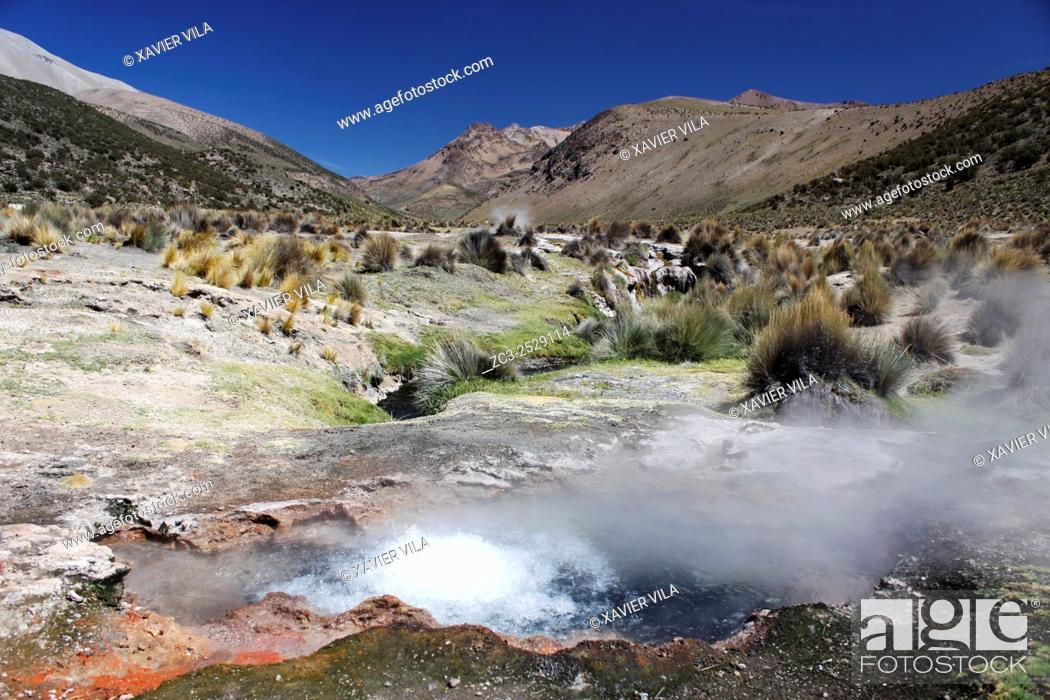 Stock Photo: Geyser in the National park of Sajama, Altiplano, Bolivia.