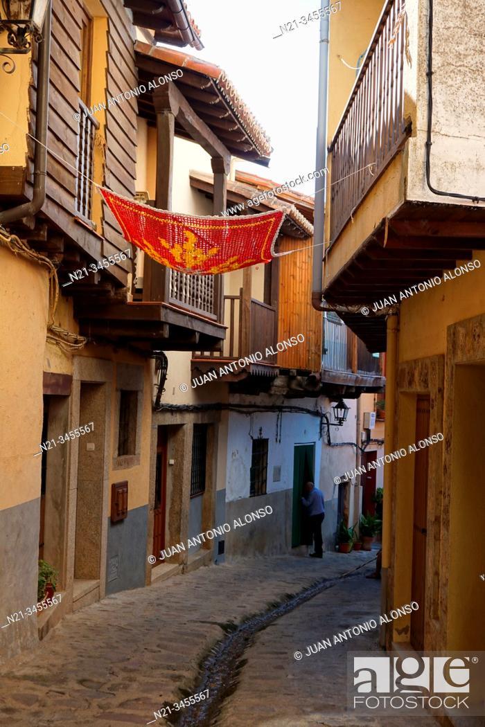 Stock Photo: Traditional crochet parasols. Valverde de la Vera, La Vera, Caceres, Extremadura, Spain, Europe.