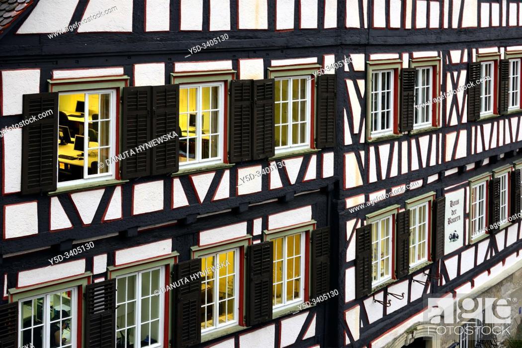 Stock Photo: Traditional German half-timbered house, Marktplatz, historic part of Schwäbisch Hall, Schwäbisch Hall, Baden-Württemberg, Germany, Europe.