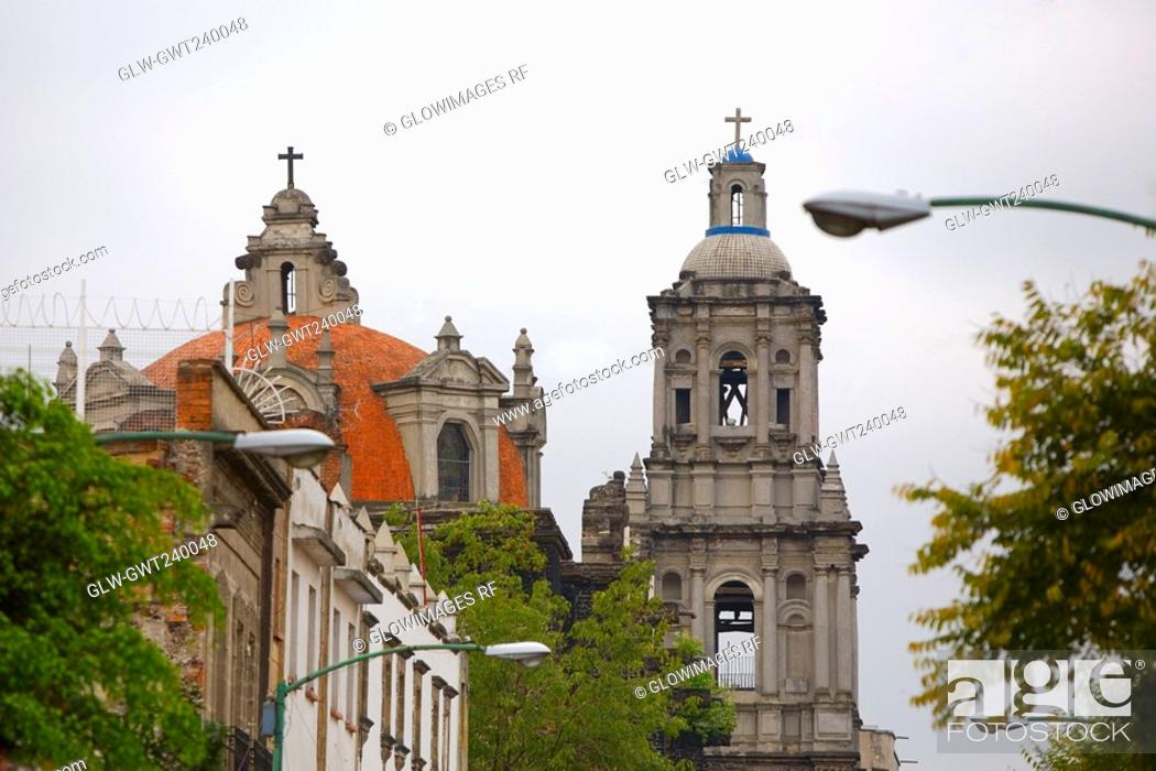 Stock Photo: Low angle view of the dome and bell tower of a church, Church of La Concepcion, Convent of La Concepcion, Mexico City, Mexico.