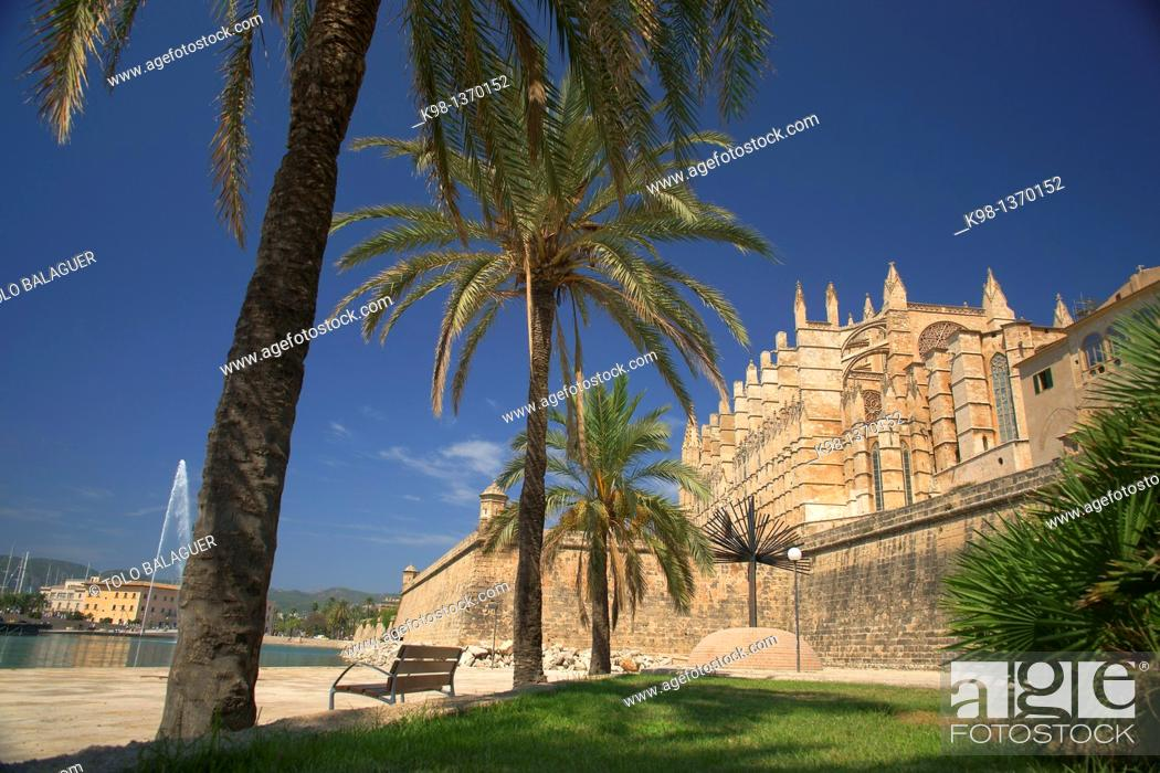 Stock Photo: Palma Cathedral La Seu, XIV-XVI century Palma Mallorca Balearic Islands Spain.