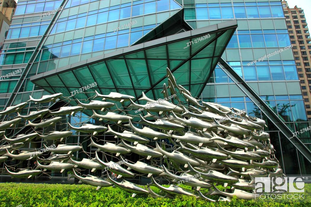 Stock Photo: China, Shanghai, Nanjing East Road, modern architecture,.