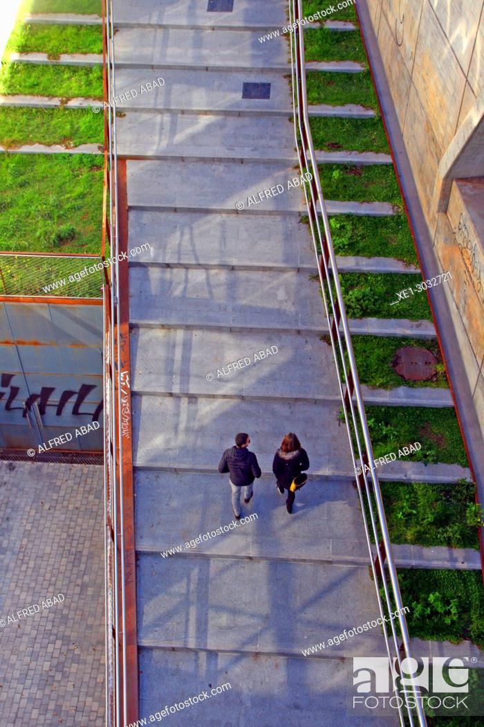 Stock Photo: street with slope, Barcelona, Catalonia, Spain.