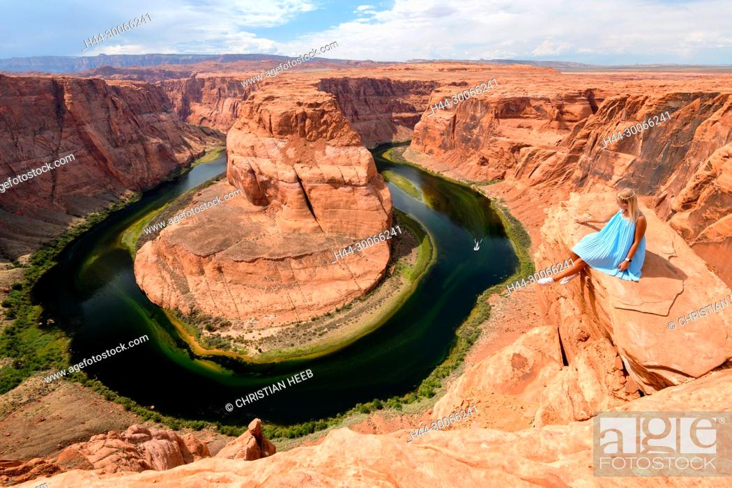 Stock Photo: North America, American, USA, Southwest, Colorado Plateau, Arizona, Glen Canyon, Horseshoe Bend, Colorado River,.