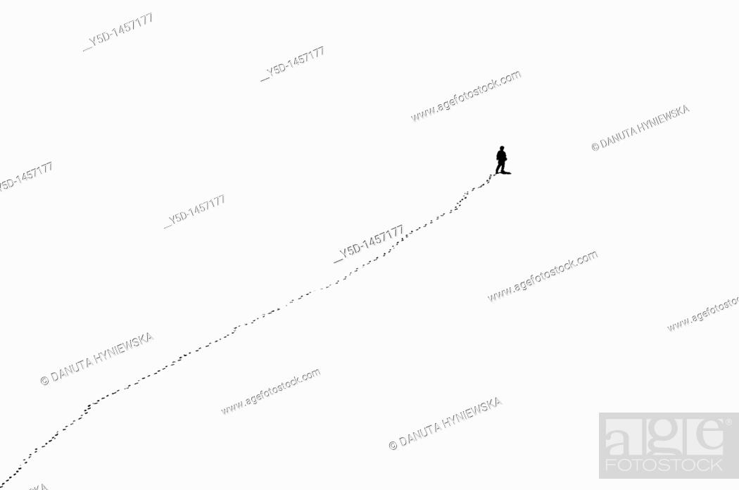 Stock Photo: somewhere in mountains, could be anywhere, lonely man and his her lonely road called life, Quo Vadis Domine.