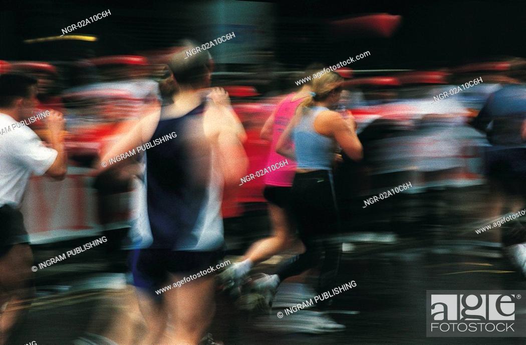 Stock Photo: people running a marathon.