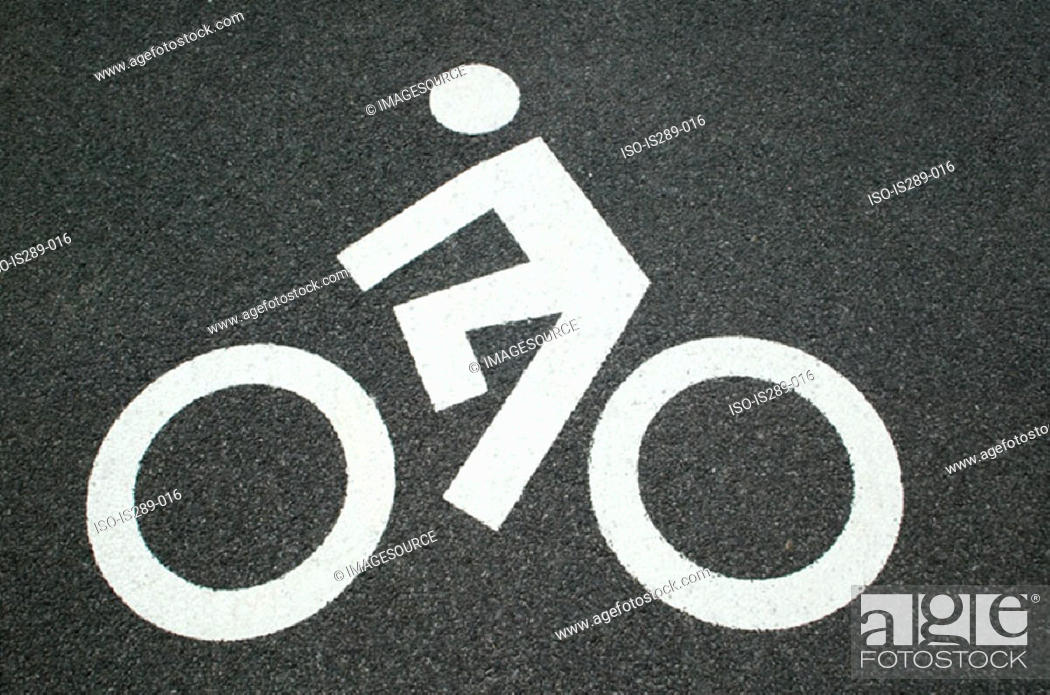 Stock Photo: Cycle path road marking.