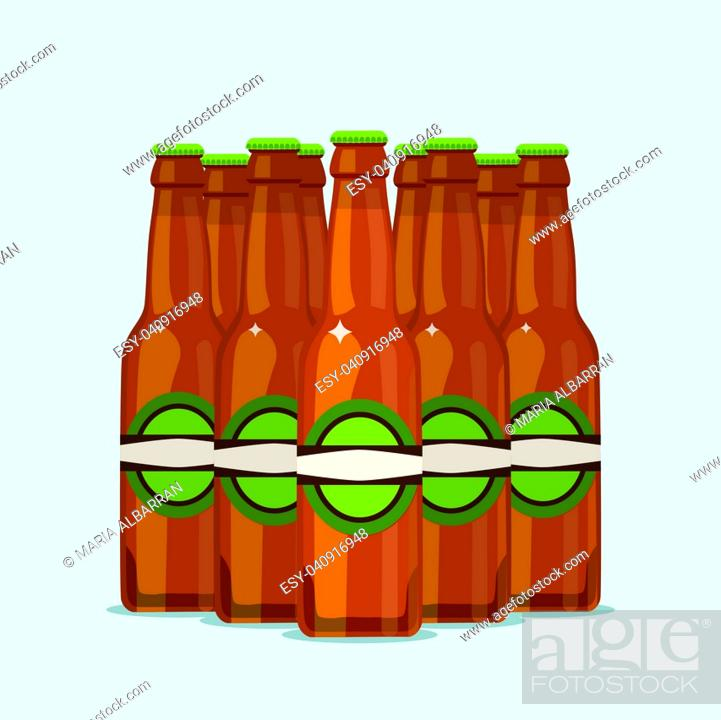 Stock Vector: Group of attractive beer bottles on a blue background. Vector illustration.